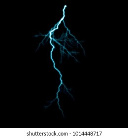 Isolated blue electrical lightning strike visual effect on black background.