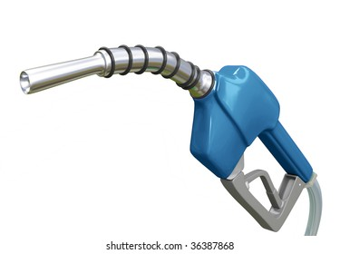 Isolated Blue Gas Pump Nozzle