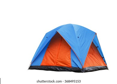 Isolated blue and orange dome tent with clipping path