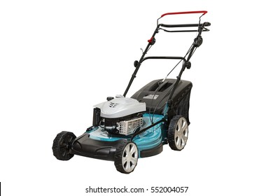 Isolated Blue Petrol Lawn Mower. Wheel Drive 4-stroke Petrol Blue Lawn Mower