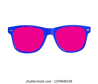 Isolated blue and pink sunglasses on white background