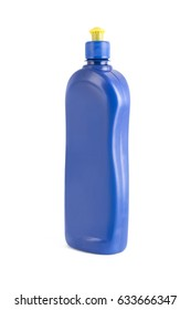 isolated blue plastic bottle for cleaner on white background