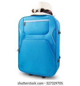 isolated blue suitcase with wheels, colorful