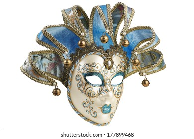 Isolated Blue Venetian mask on a white background