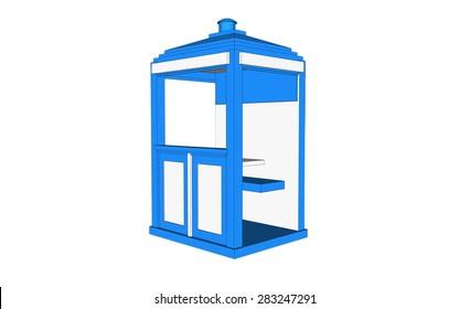isolated blue vintage guardhouse on white background