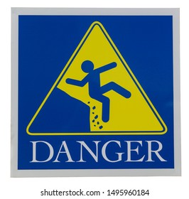Isolated blue and yellow DANGER sign showing  human figure fall off a steep cliff.