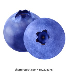 Isolated blueberries. Fruit blueberries isolated on white background as package design element. Healthy eating.