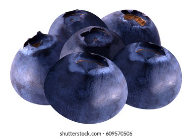 Isolated blueberries. Stack of blueberries isolated on white background as package design element. Healthy eating.