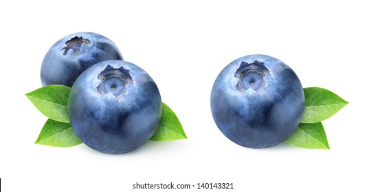 Isolated blueberry. Two images of blueberries isolated on white background
