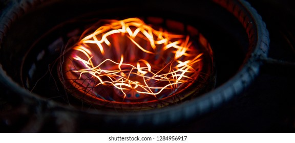 Isolated blurry fires of a cooking stove photo