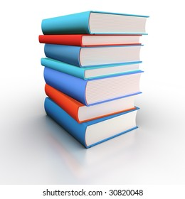 Isolated book stack (blue and red)