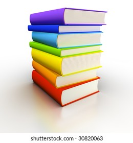 Isolated book stack (spectrum-colored)