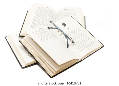 Isolated books with glases