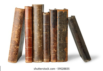 Isolated books. Old books standing in a row isolated on white background
