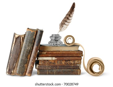 Isolated books. Old weathered books, inkstand with quill and scroll isolated on white background