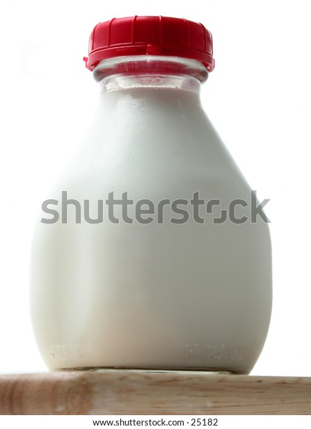 Isolated bottle of all natural cow's milk