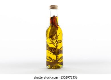 An isolated bottle of homemade aromatic olive oil with herbs and spices