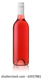 Isolated bottle of red rose wine