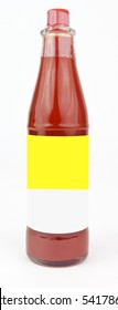 Isolated bottle of spicy hot sauce with blank white and yellow table.Copy space.