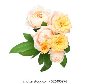 Isolated bouquet of roses with leaves