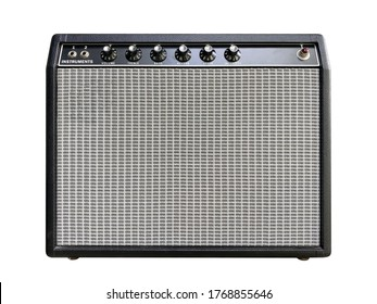 Isolated boutique black leather vintage electric guitar amplifier with a black knob on white background with clipping path. Popular amp in rock, blues music. front view photo.