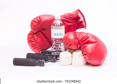 Isolated boxing equipment on white high key background