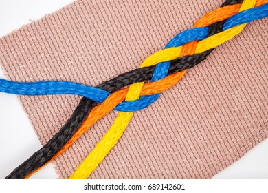 isolated braid rope twist on pink mat white background