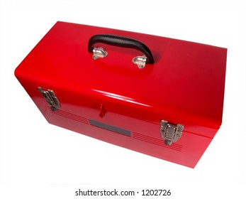 Isolated brand new red toolbox Close-up (High Resolution)