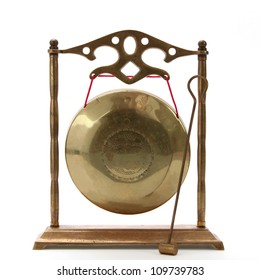 Isolated brass chinese gong on white background