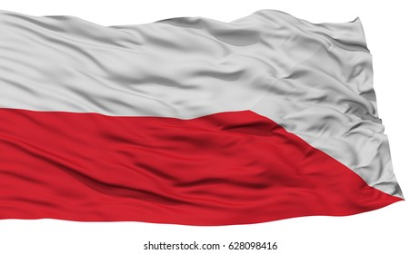 Isolated Bratislava City Flag, Capital City of Slovakia, Waving on White Background, High Resolution