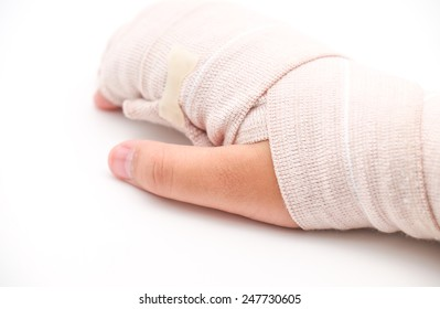 Isolated broken or splint hand with band aid cloth for medical on white background