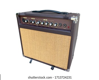 Isolated brown acoustic combo amplifier on white background with work path. side angle.
