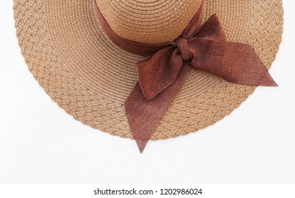 Isolated brown beach hat woman accessory on white background