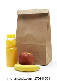 Isolated brown paper lunch bag