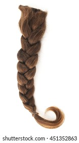 Isolated brown ponytail on a white background.