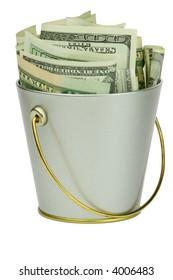 Isolated bucket of money over white background