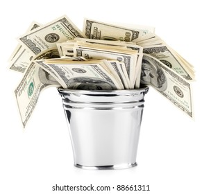 Isolated bucket of US banknotes