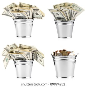 Isolated bucket of US banknotes. Set.