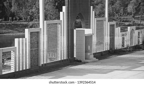 Isolated building parts of a mosque black and white photo