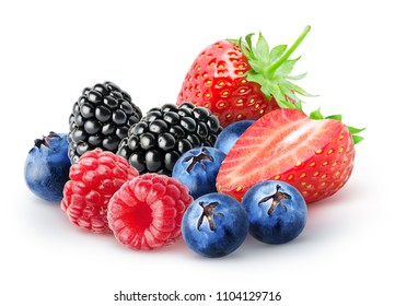 Isolated bunch of berries. Blackberry, raspberry, blueberry, strawberry fruits isolated on white background, with clipping path
