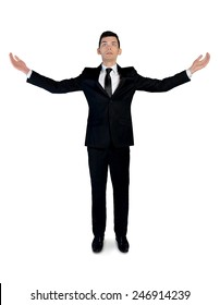 Isolated business with arms up