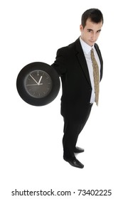 Isolated business man with clock