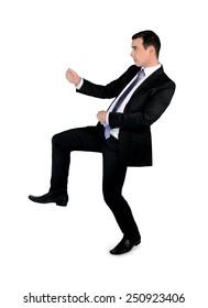 Isolated business man drag something