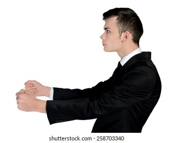 Isolated business man drive position