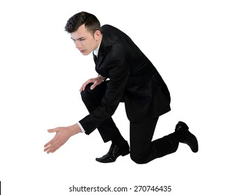 Isolated business man help hand