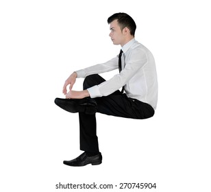 Isolated business man looking side