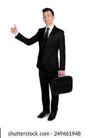Isolated business man ok sign