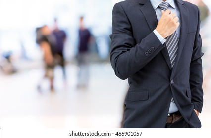 isolated business man on shopping mall background