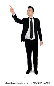 Isolated business man pointing something