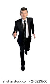 Isolated business man run to camera